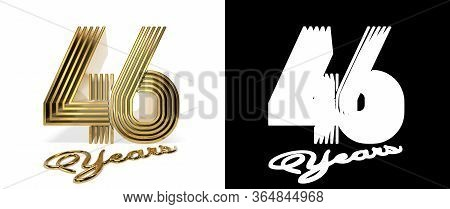 Number 46 (number Forty-six) Anniversary Celebration Design With Five Parallel Lines On A White Back