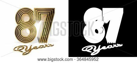 Number 87 (number Eighty-seven) Anniversary Celebration Design With Five Parallel Lines On A White B