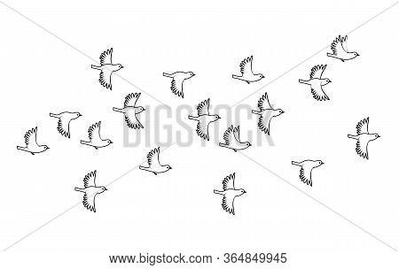Sparrows. Flock Of Birds Flying. Vector Black Image Silhouette.