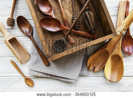 Top View On A Wooden Cutlery Kitchen  Ware In Old Wooden Box. Top View