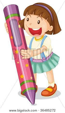 Illustration of a girl with large crayon
