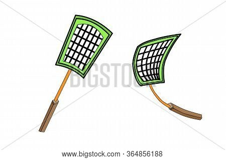 Fly Swatter Isolated On White Background. Tool For The Destruction Of Insects At Home. Insect Killin