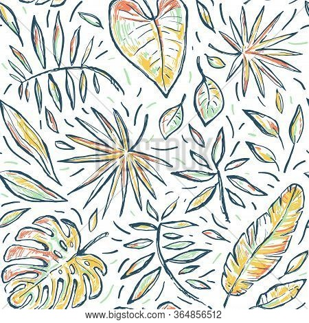 Seamless Tropical Hand Drawn Vector Sketch Pattern With Leaves. Exotic Stylized Plant On White Backg