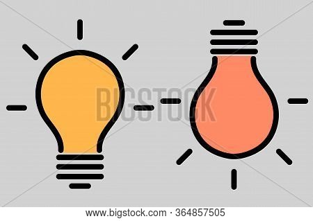 The Set Of Two Burning Lamps. The Symbol Of Ideas And Creative Thinking, Emphasis, An Advantageous O