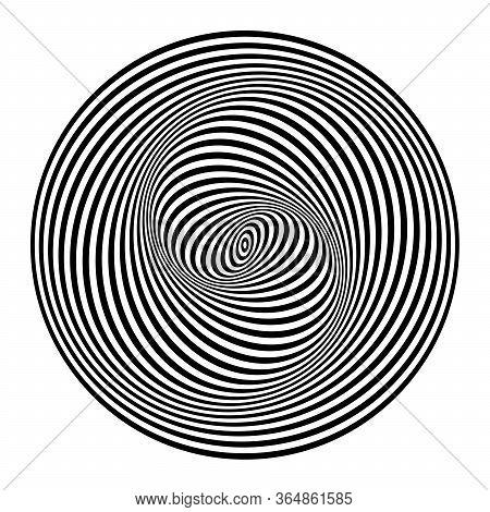 Illusion Of Spiral Swirl Movement. Abstract Design Element. Op Art Lines Pattern. Vector Illustratio