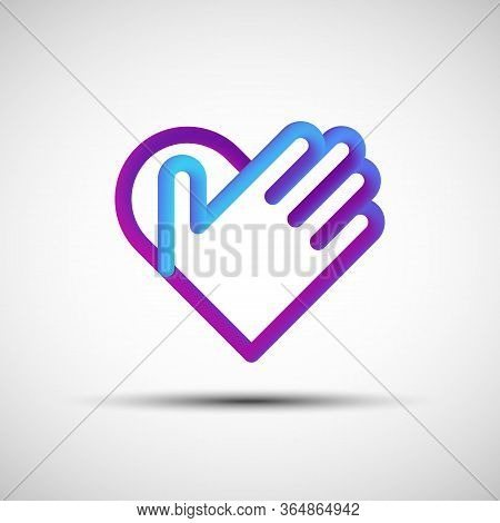 Hand Over Heart Blended Line Icon. Vector Illustration Of Liquid 3d Abstract Heart With Hand Icon, L