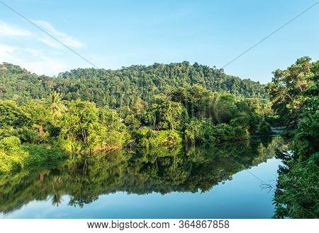 Sunrise Over Lake Kinabatangan In Sabah Borneo Malaysia