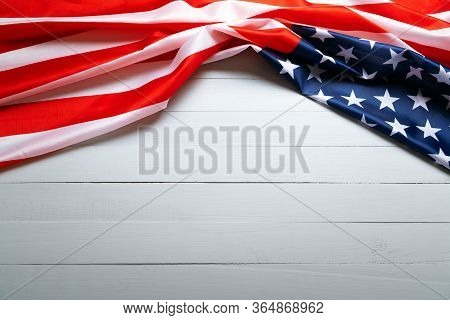 Usa Memorial Day And Independence Day Concept, United States Of America Flag On Wooden Background