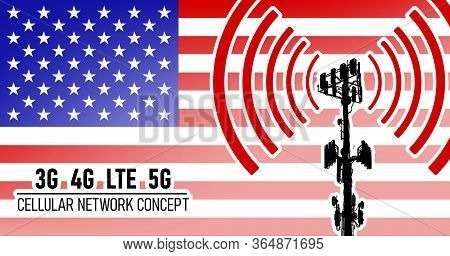 Cellular Mobile Tower Connection Network Concept For Usa, Vector Illustration Of 3g 4g Lte And 5g Da