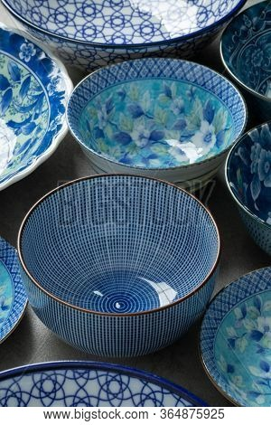 Collection of different blue traditional Japanese bowls