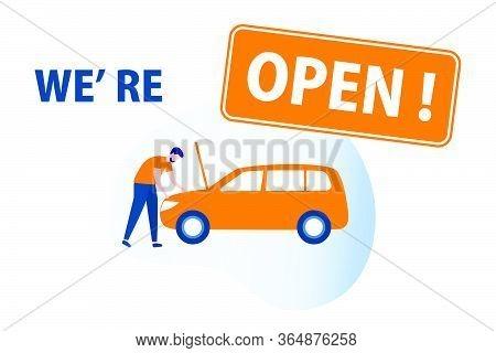 Vector Illustration Opening Of Car Service, Auto Repair Shops, Auto Diagnostics Center, Automobile M