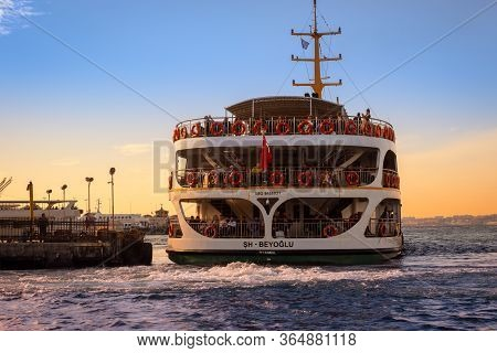 Istanbul, Turkey - November 30, 2019: Passengers On The Ferryboat In Kadikoy. Every Day Nearly 150,0