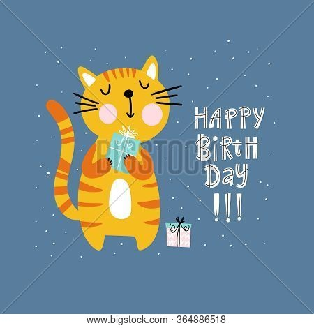 Birthday Card Design With Cute Cat Holding A Gift Box And Handwritten Text Happy Birthday On Blue Ba
