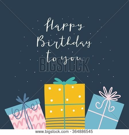 Funny Happy Birthday Card Design With Different Gift Boxes And Phrase - Happy Birthday To You In Car