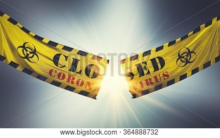 End of coronavirus COVID-19 economic lockdown. Cutting and tearing caution tape. Easing restrictions