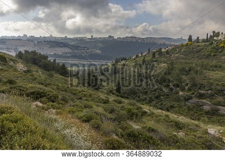 Jerusalem's Skyline On A Hazy Winter Morning, As Photographed From North Of The City.