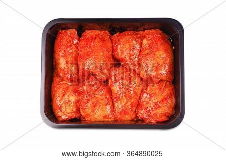 Chicken Legs In Red Marinade In Plastic Packaging For Supermarkets.vacuum Packaging.fresh, Raw Chick