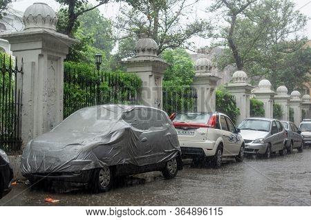 Amritsar, Punjab, India - July 20: Sudden Monsoon Rainstorm On The Street In Amritsar, Punjab, India