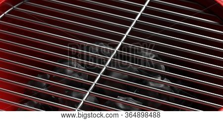 Bbq Grill. Barbecue Grate Closeup View. 3D Illustration