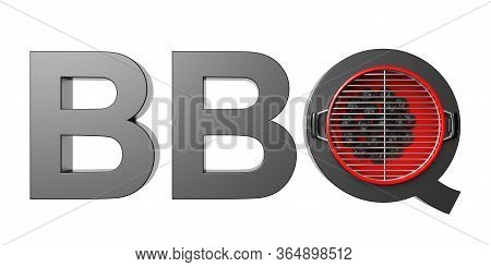 Bbq Text Isolated Cutout Against White Background. 3D Illustration