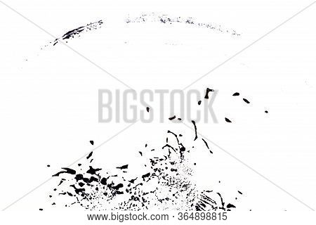 Black And White Hand Painted Acrylic Background. Grunge Acrylic Texture With Painted Dots And Brush