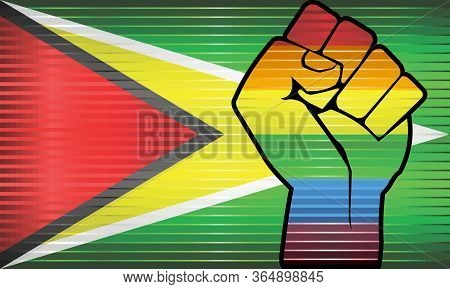 Shiny Lgbt Protest Fist On A Guyana Flag - Illustration,  Abstract Shiny Guyana And Gay Flags