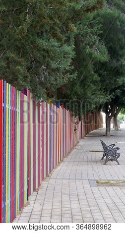 Multi Colored Fence Outside Alora Primary School, Andalusia