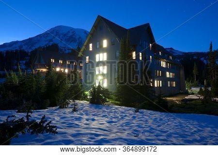 Mount Rainier National Park, Washington State, United States - July 11, 2012: Paradise Inn Hotel At