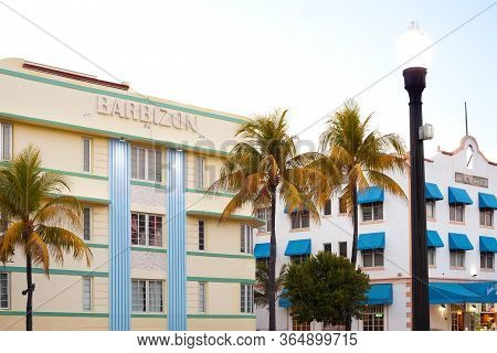 South Beach, Miami, Florida, United States - March 23, 2012: Art Deco Buildings At Ocean Drive In Th