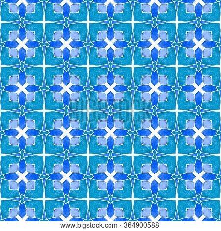 Chevron Watercolor Pattern. Blue Classic Boho Chic Summer Design. Green Geometric Chevron Watercolor