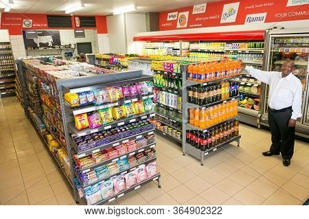 Johannesburg, South Africa - February 24, 2016: Fully Stocked Shelves Of Food And Household Items At