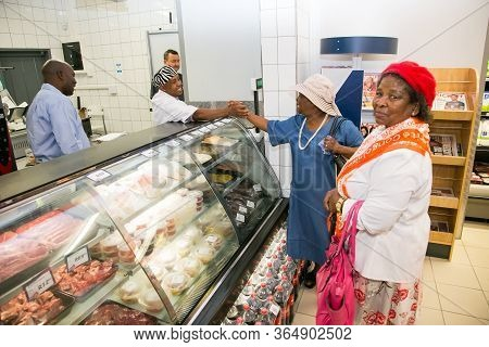 Johannesburg, South Africa - February 24, 2016: African Customers At Deli Counter At Local Pick N Pa