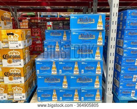 Orlando,fl/usa-5/2/20: Cases Of Modelo Especial Cerveza Beer At A Sam's Club Store In Orlando, Flori