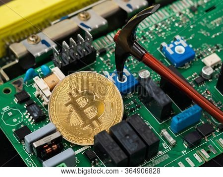 Bitcoin Virtual Cryptocurrency, Btc Pickaxe Mining, Bitcoin On The Background Of Electronics