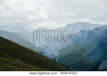 Unimaginably Vast Expanses Of Highlands. Immense Distances With Long Valleys And Giant Mountain Rang