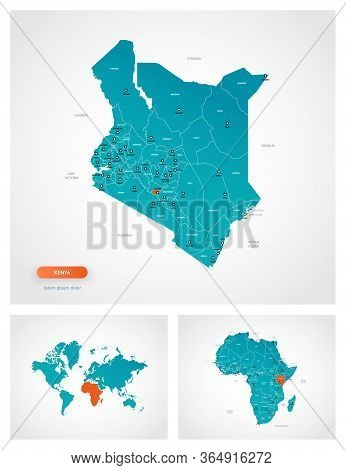 Editable Template Of Map Of Kenya With Marks. Kenya On World Map And On Africa Map.