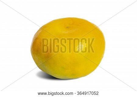 Ripe Mandarin Citrus, Fresh Juicy Tangerine Ripe Fruit Isolated On White Background