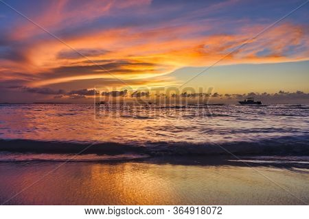 Landscape Of Tropical Island Beach, Sunset. Beautiful Sunset Over The Sea  On The White Beach On A C