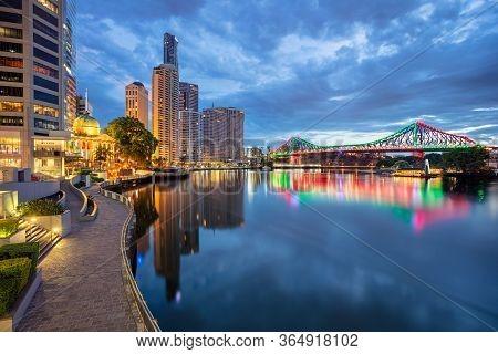 Brisbane. Cityscape Image Of Brisbane Skyline, Australia During Twilight Blue Hour.