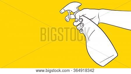 Digital illustration of a hand holding and using disinfectant spray over bright yellow background. Precautions disinfecting hygiene coronavirus Covid-19 pandemic concept digitally generated image.