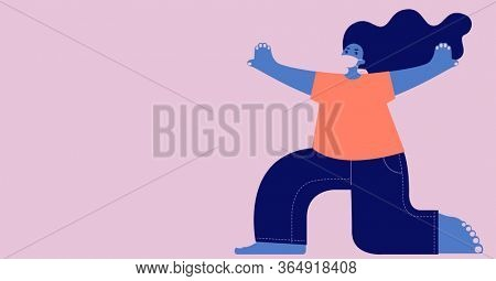 Digital illustration of a person wearing protective face mask on pale pink background. Precautions social distancing self isolation hygiene coronavirus Covid-19 pandemic concept digitally generated