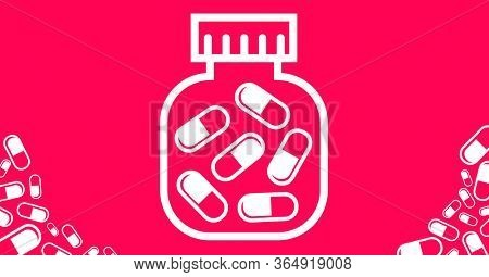 Digital illustration of white outline of jar full of pills on red background. Medication relief cure coronavirus Covid-19 pandemic concept digitally generated image.