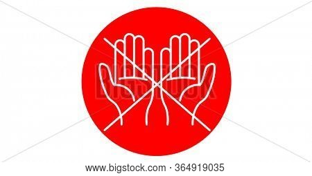 Digital illustration of white outline of hands crossed over red circle on white background. Precautions cleanliness hygiene coronavirus Covid-19 pandemic concept digitally generated image.