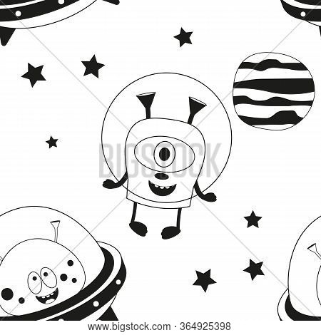 Funny Monsters Seamless Pattern - Cute Aliens In Outer Space. Black And White Background. Monochrome