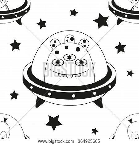 Funny Monsters Seamless Pattern - Cute Aliens, Ufo And Stars. Black And White Space Background. Mono