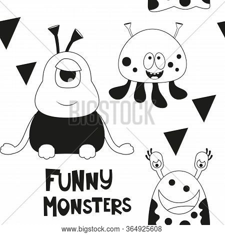 Space Seamless Pattern - Cartoon Aliens. Black And White Space Background. Monochrome Vector Illustr