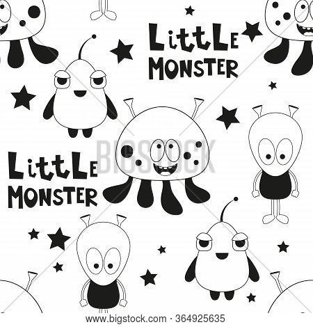 Funny Monsters Seamless Pattern - Cartoon Aliens. Black And White Space Background. Monochrome Vecto