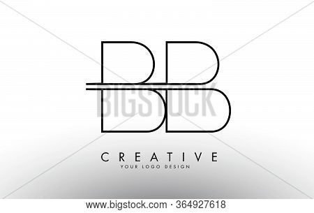 Bb B Letters Logo With A Simple Monogram Design Concept. Creative Bb Letter Icon With Black Lines Ve