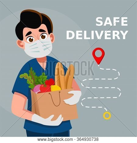 Safe Food Delivery. Delivery Of Goods During The Prevention Of Coronovirus, Covid-19. Man Holds Fres