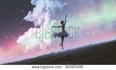 A Ballerina Dancing With Fireflies On The Hill Against The Night Sky, Digital Art Style, Illustratio